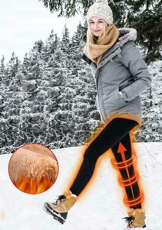 Winter Thickened Warm Pocket High Waist Fleece Leggings - Black