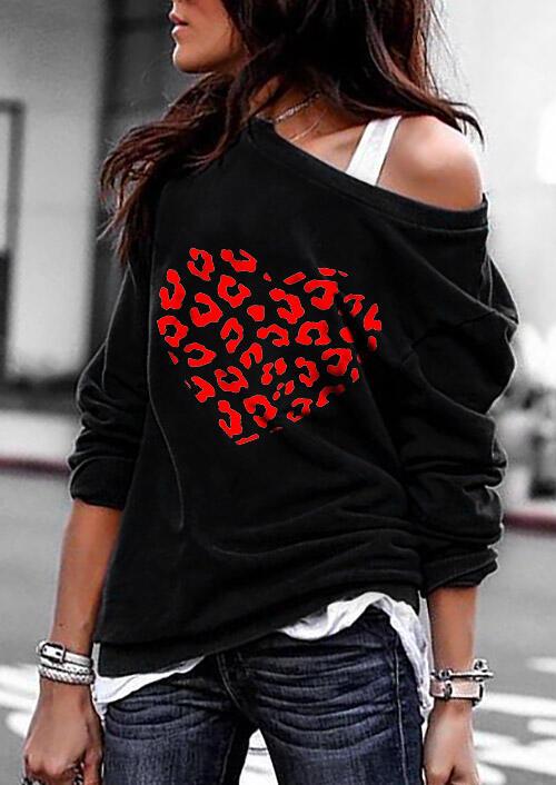 Leopard Love Heart Long Sleeve Pullover Sweatshirt - Black