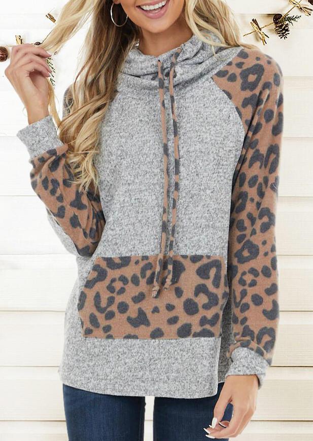 Hoodies Leopard Splicing Drawstring Kangaroo Pocket Hoodie in Gray. Size: M,L