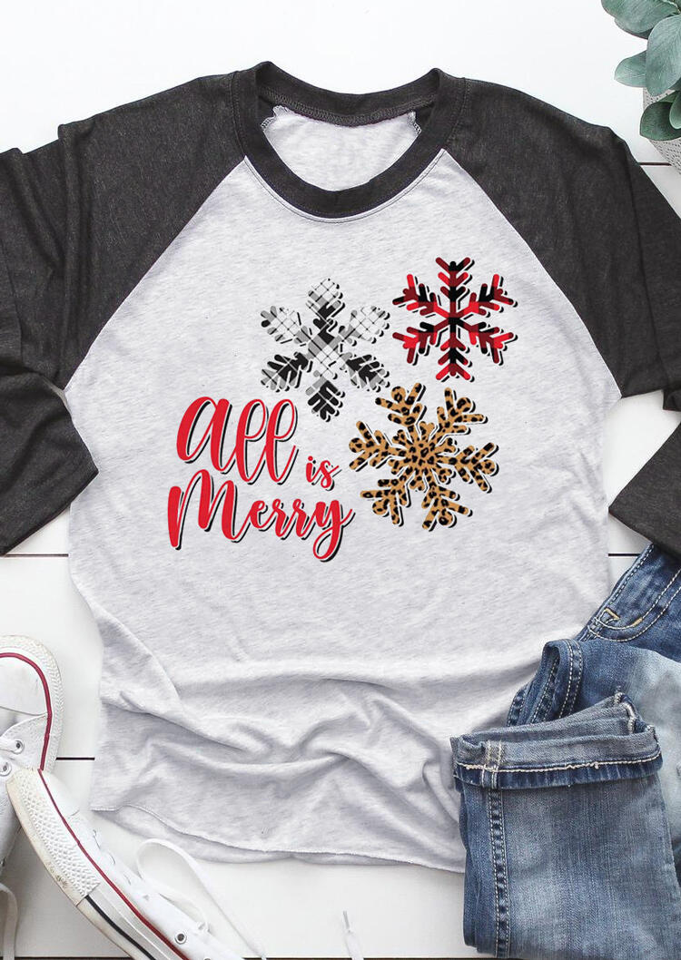 Christmas All Is Merry Leopard Snowflake T-Shirt Tee - Dark Grey