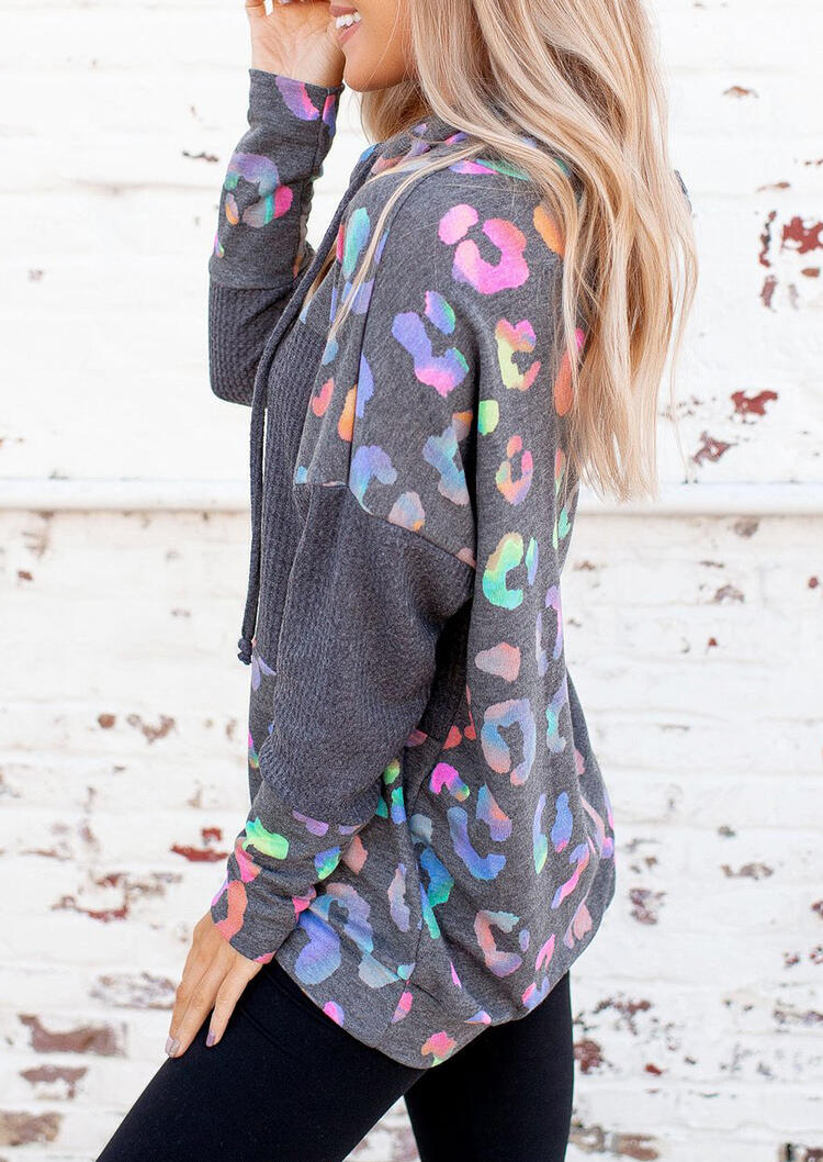 Hoodies Colorful Leopard Waffle Drawstring Hoodie in Multicolor. Size: M