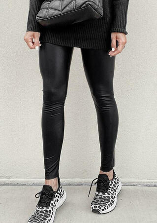 Winter Warm Faux Leather Stretchy Tight Leggings