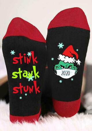 Christmas Hat 2020 Grinch Stink Stank Stunk Snowflake Socks - Red