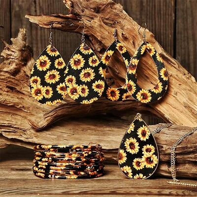 Sunflower Hollow Out Earrings Multil-Layered Bracelet And Necklace Set, 487861, Fairyseason, Yellow  - buy with discount