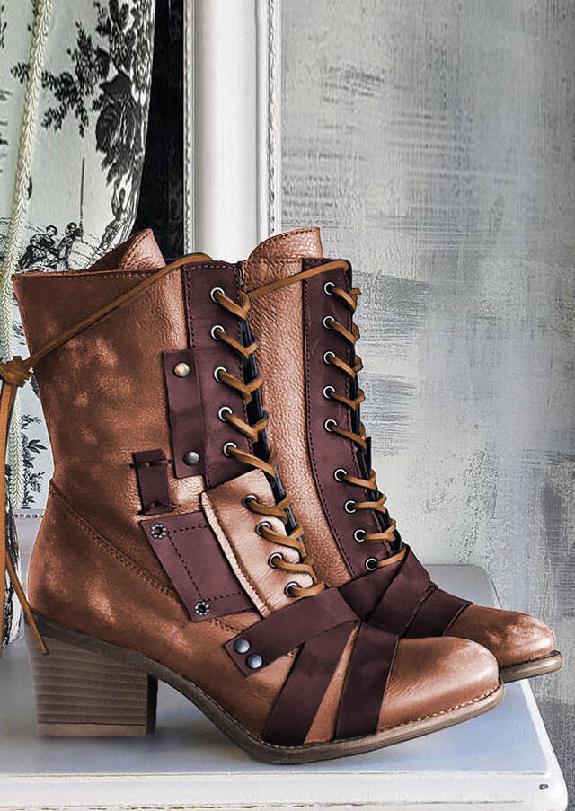 Vintage Lace Up Zipper Chunky Heel Boots - Brown