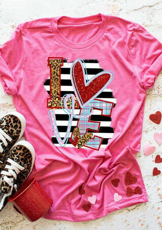 Valentine's Day Love Leopard Striped Plaid Sequined T-Shirt Tee - Pink