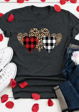 Valentine Leopard Plaid Heart T-Shirt Tee - Dark Grey