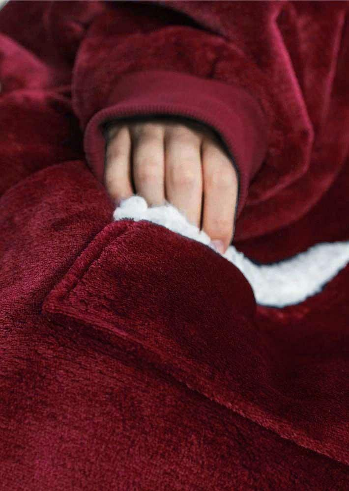 Winter Thickened Warm Kangaroo Pocket Blanket Hoodie - Burgundy