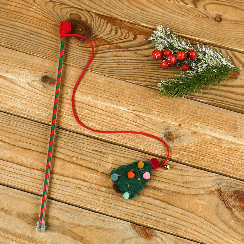 Christmas Tree Squeaky Cat Wand Interactive Toy
