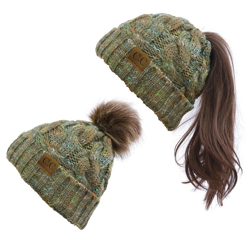 Warm Dual-Purpose Detachable Hairball Knitted Ponytail Hat