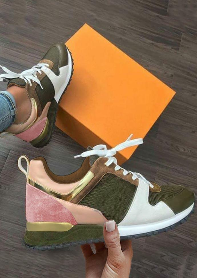 Color Block Lace Up Round Toe Sneakers - Green
