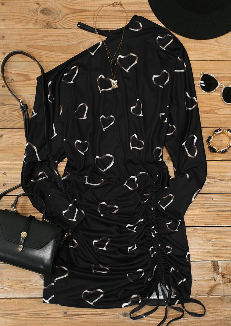 Valentine Heart One Sided Cold Shoulder Drawstring Mini Dress - Black