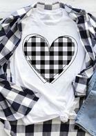 Plaid Love Heart O-Neck T-Shirt Tee - White