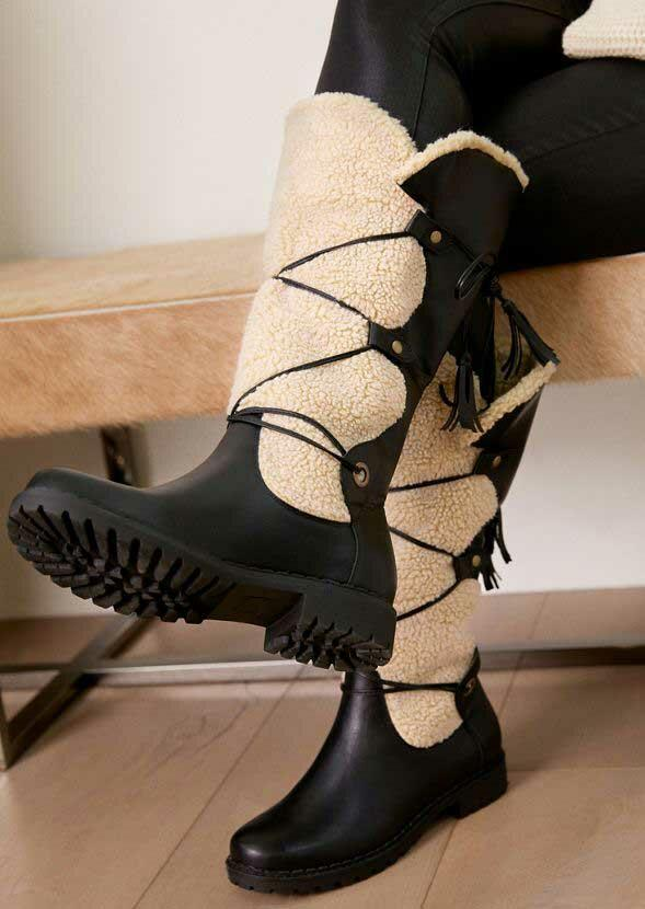 Boots Winter Warm Lace Up Round Toe Faux Fur Boots in Apricot. Size: 37,38,39,40,41