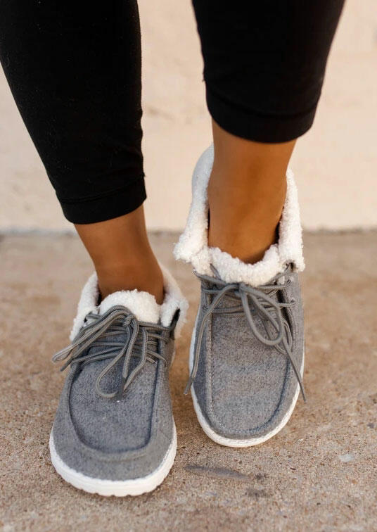 Warm Plush Lace Up Round Toe Flat Sneakers