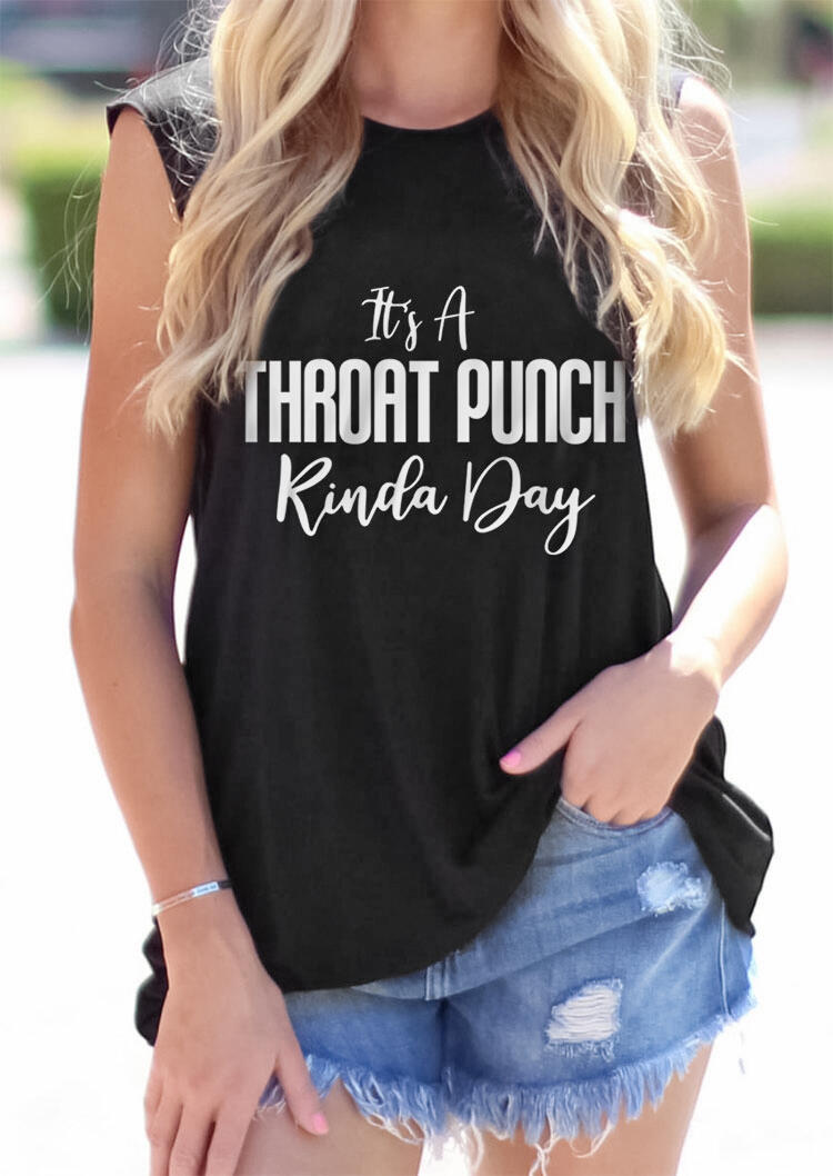 It's A Throat Punch Kinda Day Casual Tank - Black