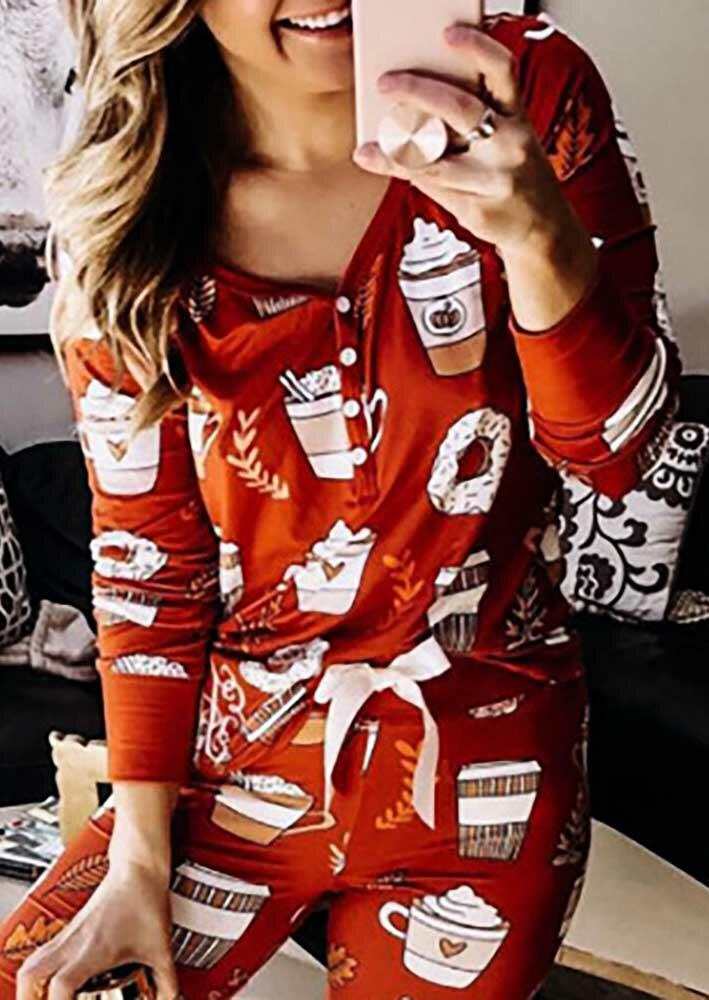 Hot Cocoa V-Neck Button Blouse And Tie Pajamas Set