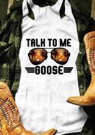 Talk To Me Goose O-Neck Tank - White