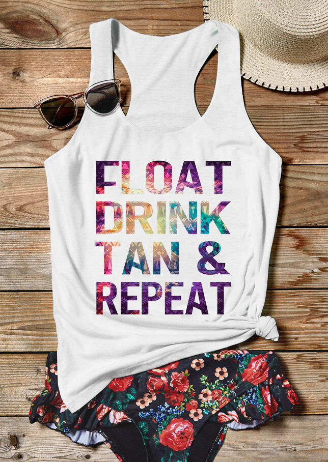Tank Tops Float Drink Tan & Repeat Tank in White. Size: S,M,L,XL