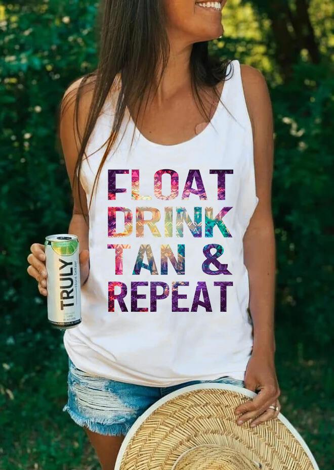 Float Drink Tan & Repeat Tank - White
