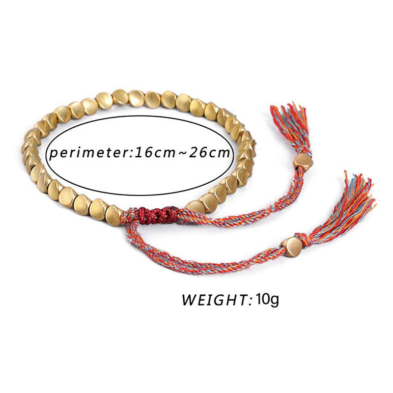 Creative Braided Rope Tassel Copper Beading Bracelet