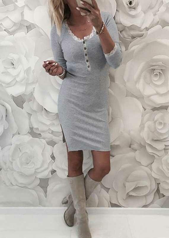 Lace Splicing Button Slit Long Sleeve Mini Dress - Gray