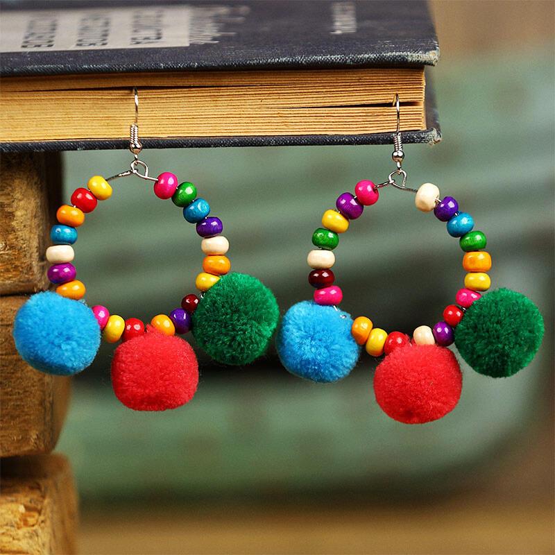 Bohemian Colorful Wooden Beading Earrings