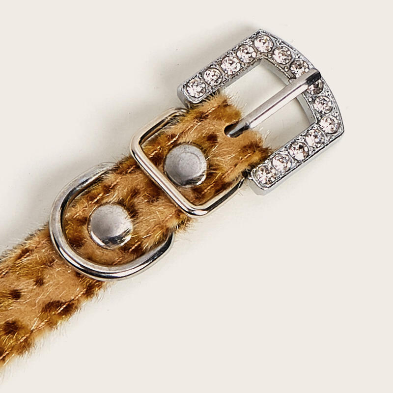 Leopard Sequined Buckle Strap Pet Collar - Yellow