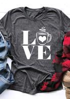 Love Coffee O-Neck Casual T-Shirt Tee - Gray