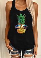 Pineapple Glasses Sunset Beach Casual Tank - Black