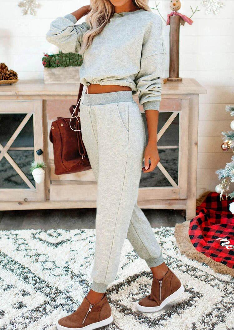 Drawstring Elastic Waist Sweatshirt And Pocket Pants Pajamas Set - Gray