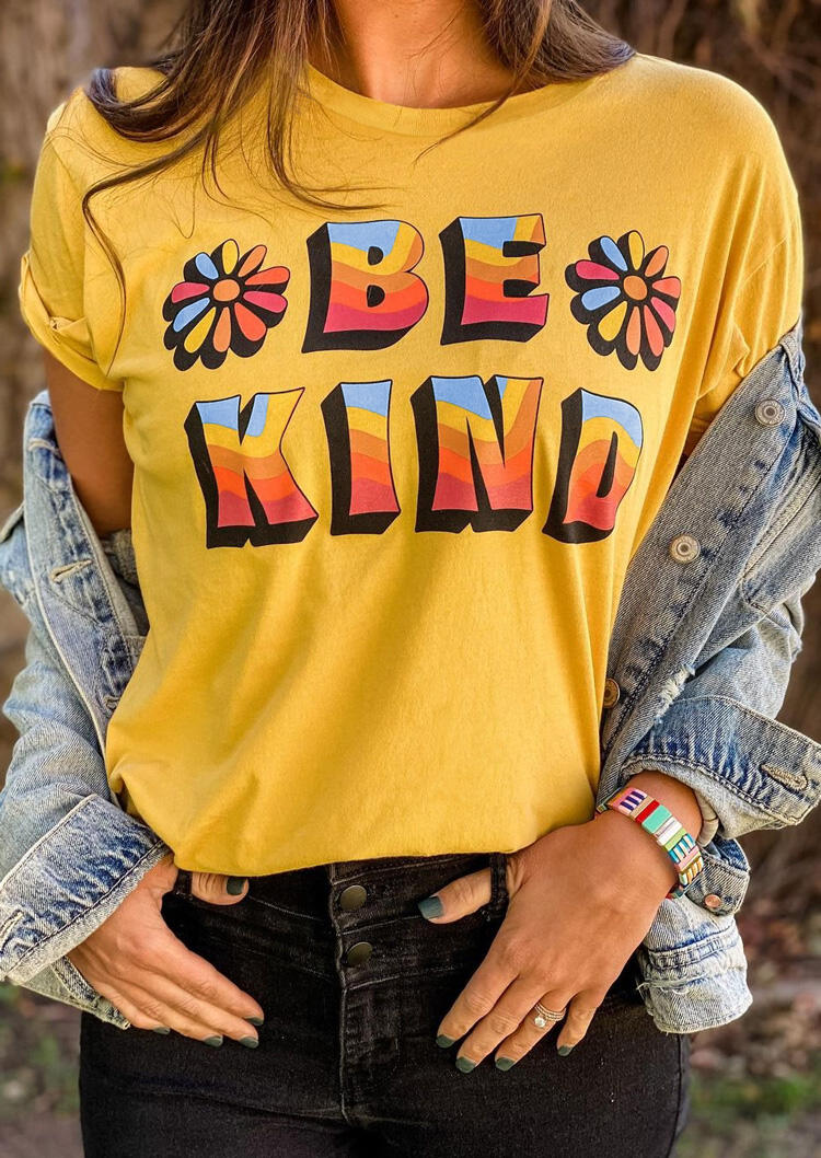 Be Kind Distressed Daisy O-Neck T-Shirt Tee - Yellow