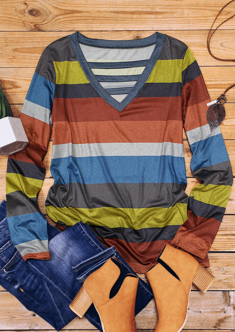 Multicolor Striped Hollow Out V-Neck Blouse