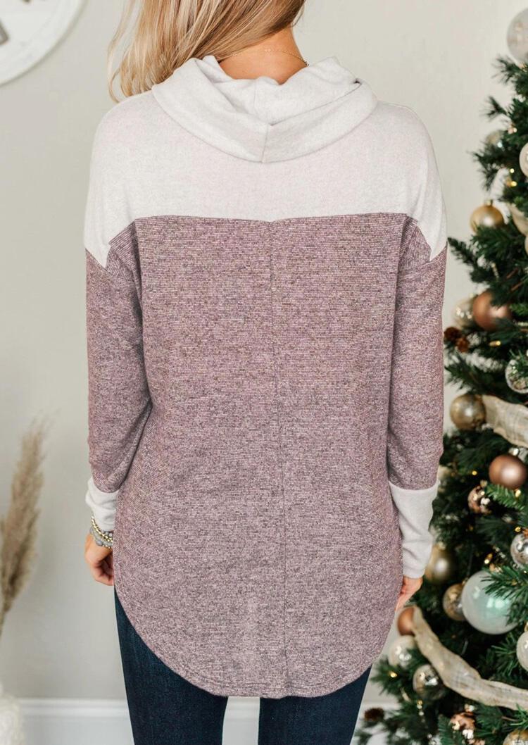 Color Block Cowl Neck Asymmetric Pullover Sweatshirt - White