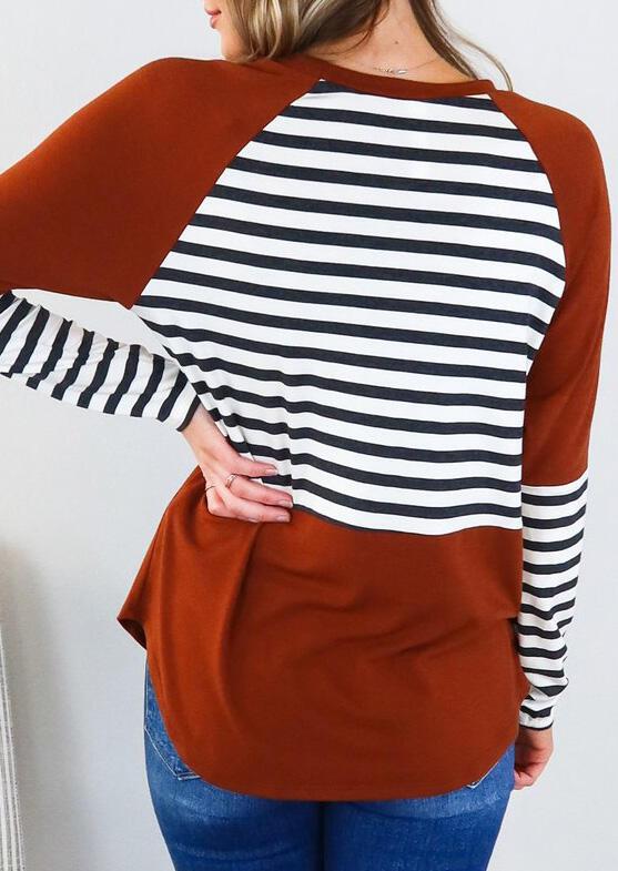 Striped Splicing Asymmetric Long Sleeve T-Shirt Tee