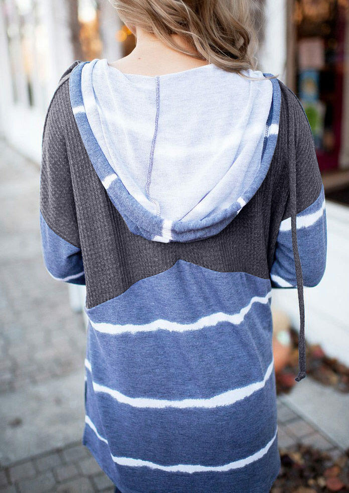 Striped Waffle Splicing Button Drawstring Slit Hoodie - Blue