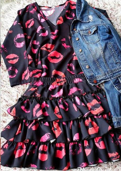 Lips Ruffled Layered Elastic Waist Long Sleeve Mini Dress