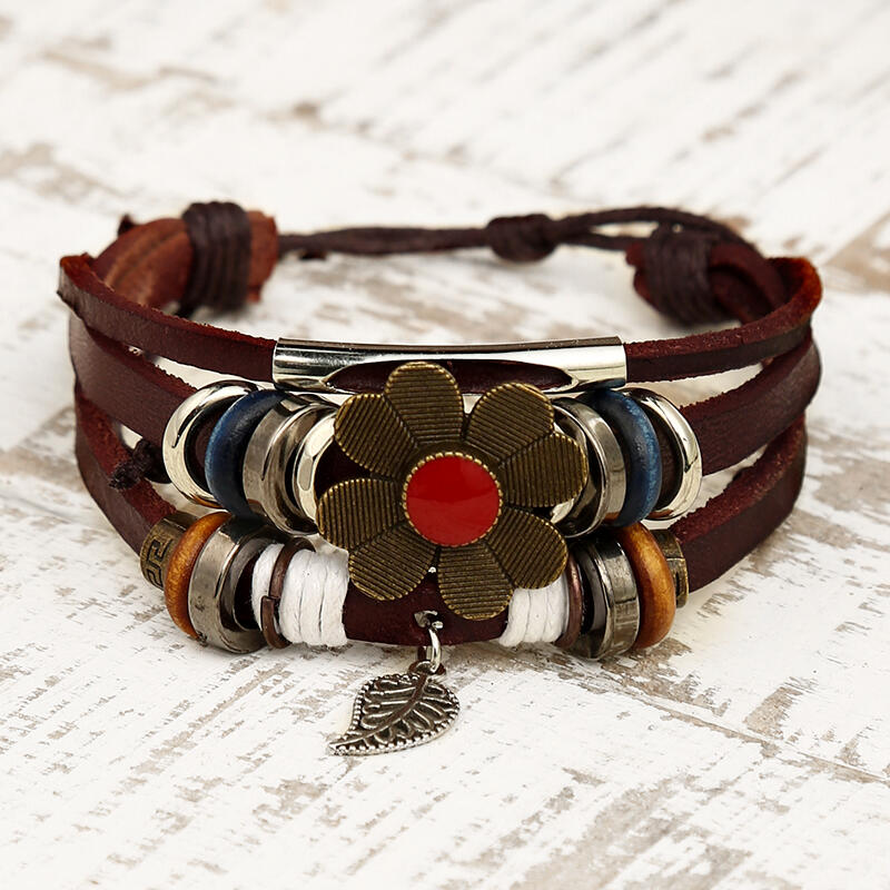 Vintage Bohemian Flower Palm Leaf Multi-Layered Bracelet