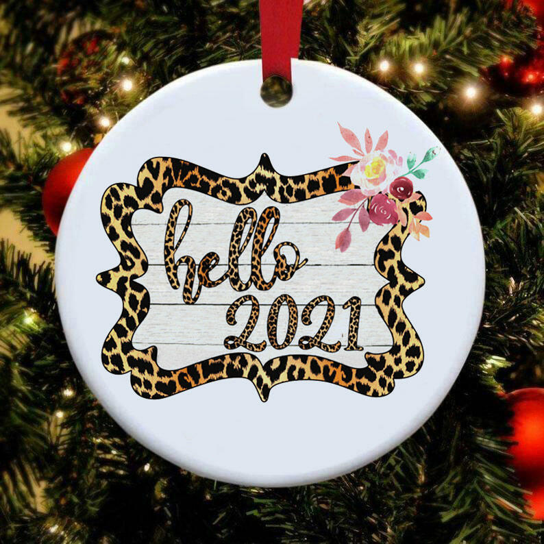Hello 2021 Leopard Floral Christmas Tree Hanging Ornament