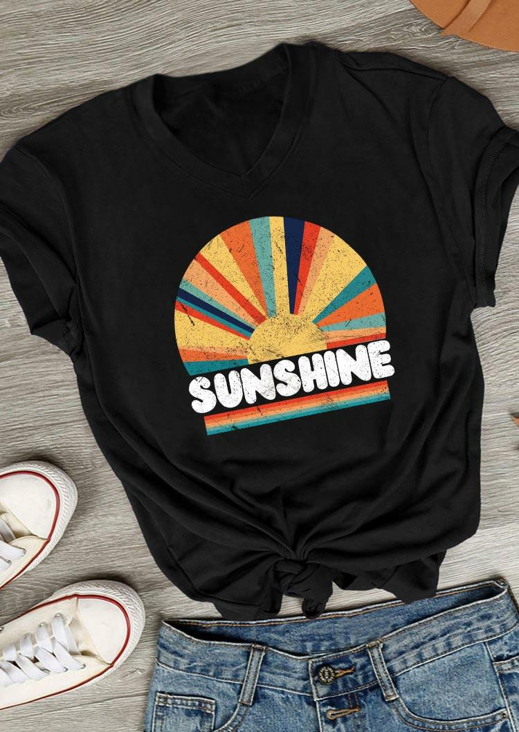 Sunshine Rainbow Striped V-Neck T-Shirt Tee - Black