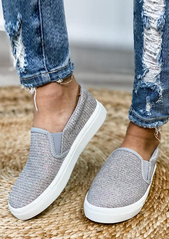 Fairyseason / Glitter Slip On Round Toe Flat Sneakers - Silver