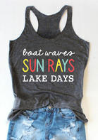 Boat Waves Sun Rays Lake Days Tank - Dark Grey