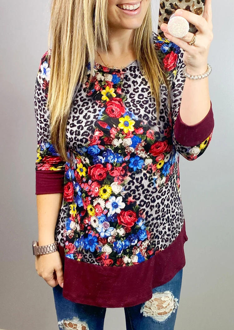 Leopard Floral Splicing Long Sleeve O-Neck Blouse