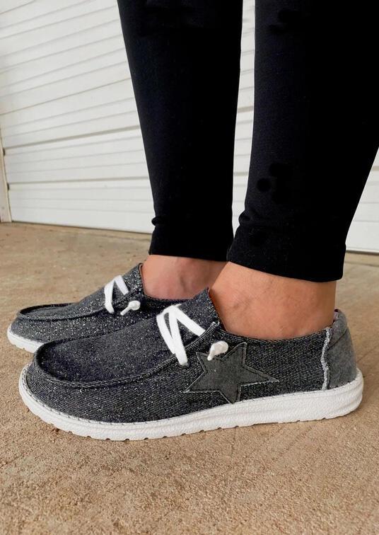 Fairyseason / Star Lace Up Round Toe Flat Canvas Sneakers - Dark Grey