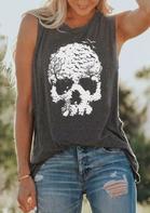 Skull O-Neck Casual Tank - Dark Grey