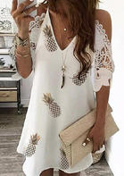 Pineapple Hollow Out Lace Splicing Cold Shoulder Mini Dress - White
