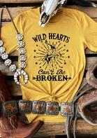 Wild Hearts Can't Be Broken Cowboy Star T-Shirt Tee - Yellow