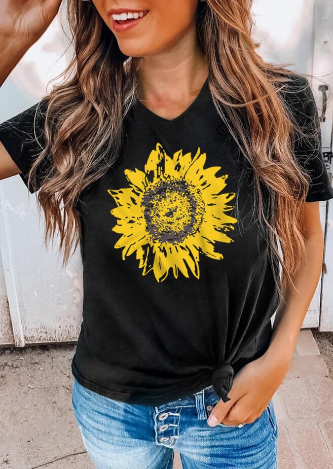 Sunflower V-Neck Casual T-Shirt Tee - Black
