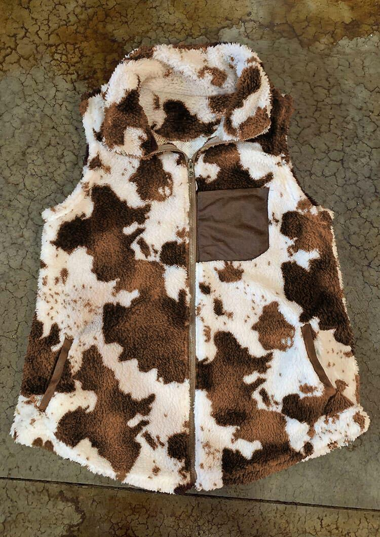 Cow Pocket Zipper Plush Warm Sleeveless Vest Coat