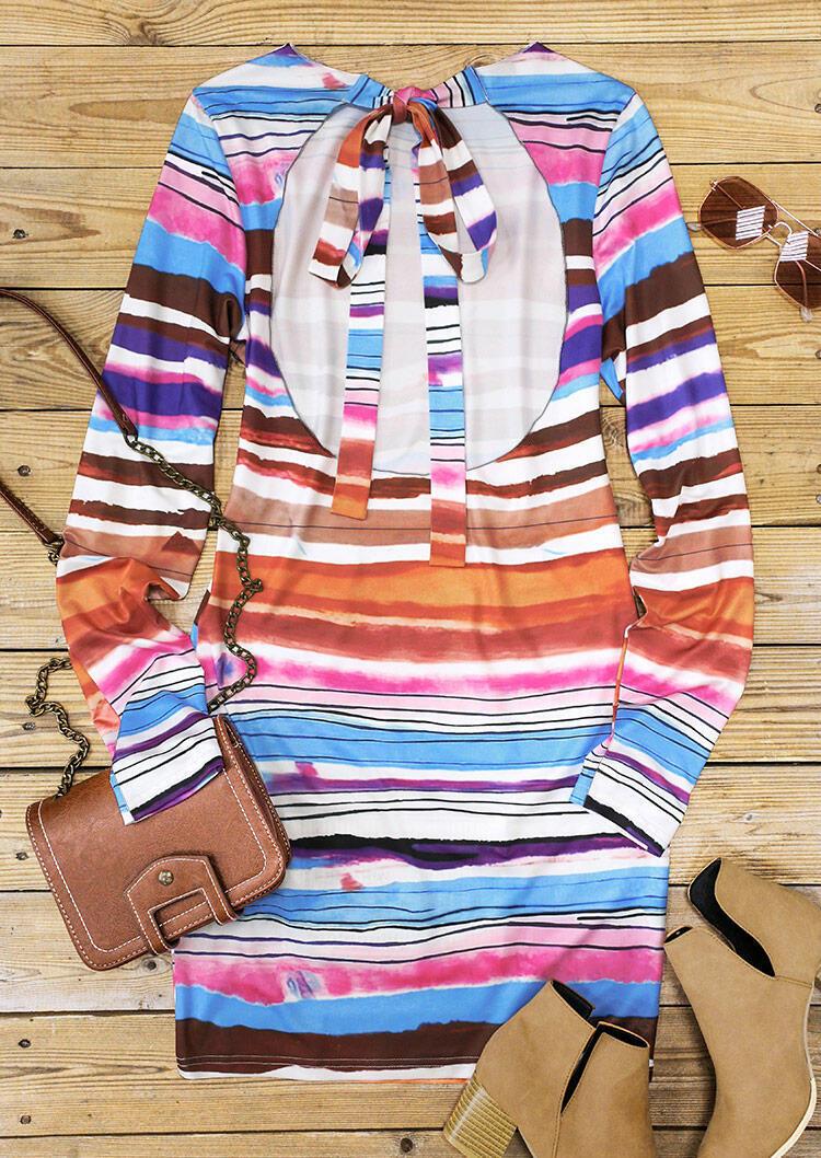 Tie Dye Striped Open Back Tie Bodycon Dress